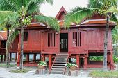 image of public housing  - Thai southern house style for show from a public park Thailand - JPG