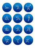 Abstract sporting pictograms with silhouettes of athletes