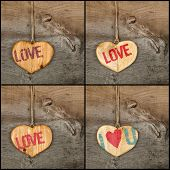 Set Collage Valentines Love Message Wooden Heart Signs On Rough Grey Background