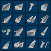 Set of metallurgy icons, metal working tools