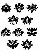 Lush black floral design elements