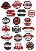 Red and black quality guarantee labels and banners