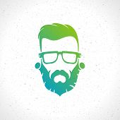 Hipster man face style silhouette vintage vector design element illustration
