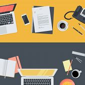 Set of flat design illustration concepts for online education, staff training