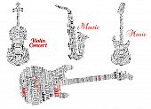 Word clouds and notes in shape of guitars, violin and saxophone