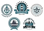 Vintage marine in blue and white emblems and labels