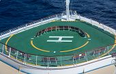 Green Helicopter Pad On Bow Of Cruise Ship