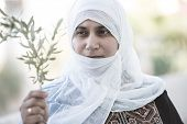 foto of arabic woman  - Arabic Muslim Middle Eastern woman with olive branch as peace symbol - JPG