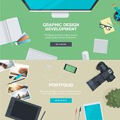Set of flat design illustration concepts for graphic design development and portfolio