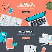 Set of flat design illustration concepts for strategic management and investment