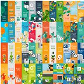Mega collection of flat web infographic concepts and banners, various universal set