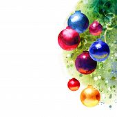 Watercolor painting Christmas background