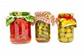 Homemade Preserved Vegetable And Fruit Glass Jar Isolated