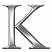 3D prata letra grega Kappa