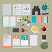 Set of flat design items for business, finance, marketing
