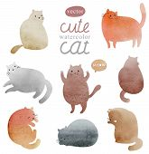 stock photo of orange kitten  - Cute watercolor painting cats in vector set - JPG