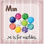 Illustration of a letter M is for marbles