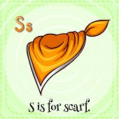 Illustration of a letter S is for scarf