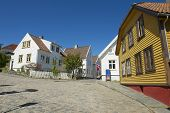 Exterior of the traditional wooden houses in Stavanger, Norway.