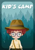 A poster showing a kid's camp with a boy