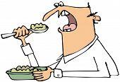 Man eating mush