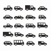 Cars icons set. Vector silhouettes