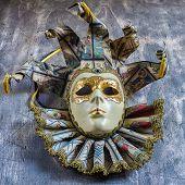 Classical Venetian Carnival Mask On Wood