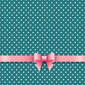 Bow And Ribbon On Green Polka Dot Background