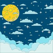 Night beautiful moonlit sky, vector illustration