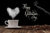 Heart on freshly roasted cup of coffee for Valentine's Day (3D Rendering)