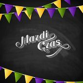 vector typographical illustration of ornate chalk word Mardi Gras on the blackboard texture with mul