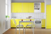 Yellow kitchenette in a small kitchen with breakfast table (3D Rendering)