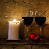 Valentines Day Postcard: Wine Glasses, Candle And Red Heart