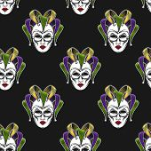 vector background with engraving Mardi Gras or Shrove Tuesday carnival mask or jester emblem.