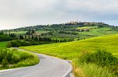 view of Pienza and Tuscany landscape, Toscana, Italy