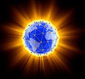 Network globe on light