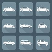 white flat style various body types of cars icons collection