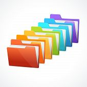 Vector many rainbow folders on the white
