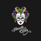 picture of incognito  - vector illustration of engraving Mardi Gras or Shrove Tuesday carnival mask emblem and ornate lettering logo - JPG