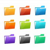stock photo of file folders  - Vector Green file folder icon set isolated on blue background - JPG