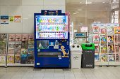 Fukuoka, Japan - October 14, 2014: The Automatic Vending Machine In Train Station With Recycle Trash