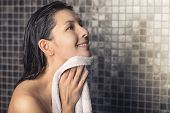 Smiling Woman In A Shower