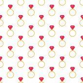 Ring with pink diamond seamless pattern.