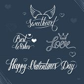 Valentines day illustration and typography elements.