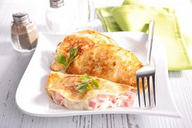 foto of crepes  - ham and cheese crepe - JPG