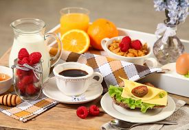 picture of continental food  - healthy continental breakfast on wooden table - JPG