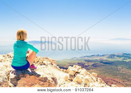 poster of Woman Meditation Beautiful Inspirational Landscape