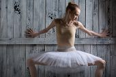 picture of ballerina  - Ballerina standing near a wooden wall on pointe in a tutu - JPG