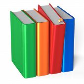 picture of four  - Books row four 4 covers blank selecting red colorful standing textbook template - JPG