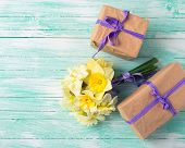 picture of gift wrapped  - Bunch of fresh spring yellow daffodils flowers amd wrapped gift boxes on turquoise painted wooden planks - JPG